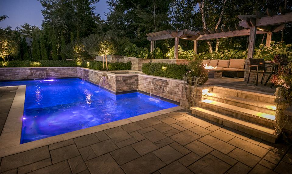 Landscaping Pool Palatial Night Lights